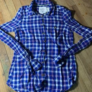 H&M plaid button up shirt pockets size XS
